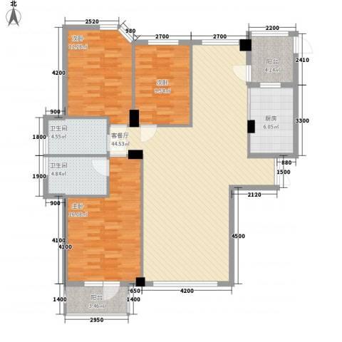 东城天下3室1厅2卫1厨105.45㎡户型图