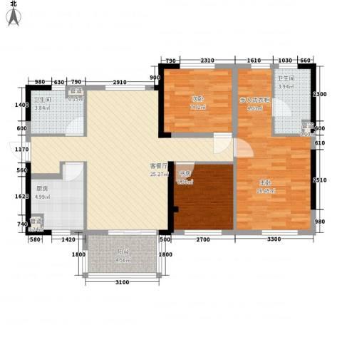万科城市花园3室1厅2卫1厨90.00㎡户型图