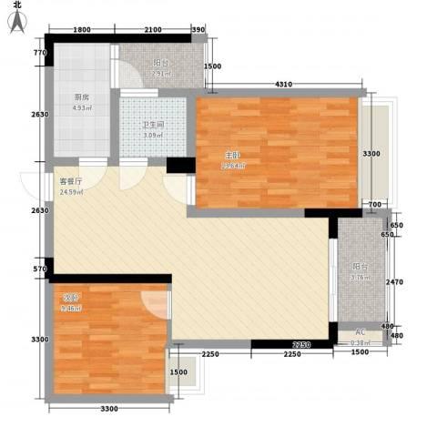 泽胜中央广场2室1厅1卫1厨92.00㎡户型图