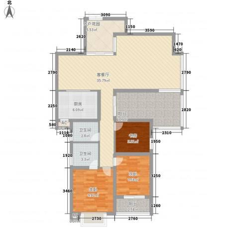 海晟维多利亚3室1厅2卫1厨132.00㎡户型图