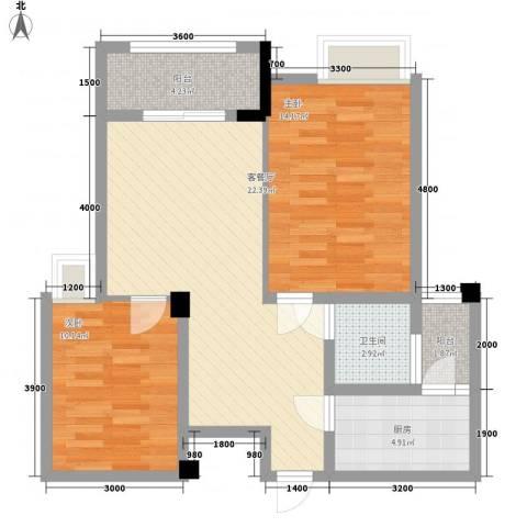 泽胜中央广场2室1厅1卫1厨88.00㎡户型图