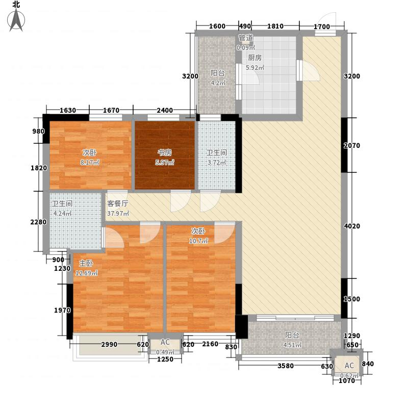 德雅湾阳光海116.26㎡10幢02单元、11幢03单元户型4室2厅2卫1厨
