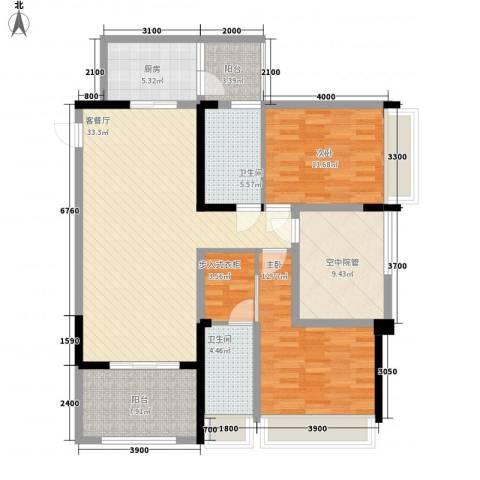 泽胜中央广场2室1厅2卫1厨140.00㎡户型图