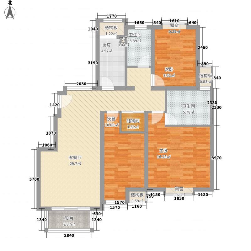 保利西塘越126.10㎡一期A10户型3室2厅2卫1厨
