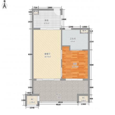 华润・石梅湾九里1室1厅1卫1厨68.00㎡户型图