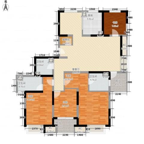 保利家园4室1厅3卫1厨180.00㎡户型图