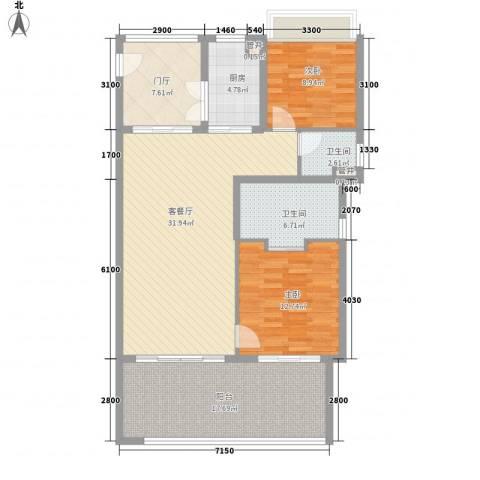 华润・石梅湾九里2室1厅2卫1厨107.00㎡户型图