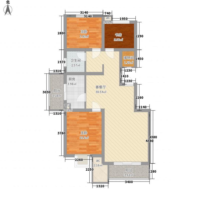 乡居假日户型图B户型 3室2厅1卫1厨