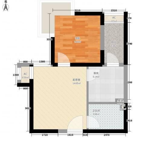 绿地世纪城1室0厅1卫1厨48.00㎡户型图