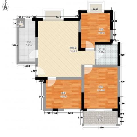 铂爵公馆3室0厅1卫1厨89.00㎡户型图