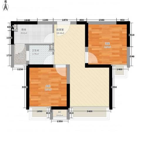 绿地世纪城2室0厅1卫1厨71.00㎡户型图