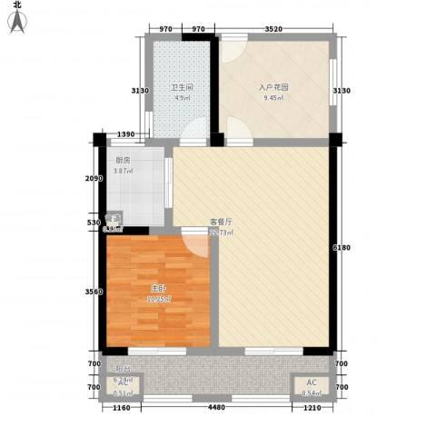 常发香城湾1室1厅1卫1厨86.00㎡户型图