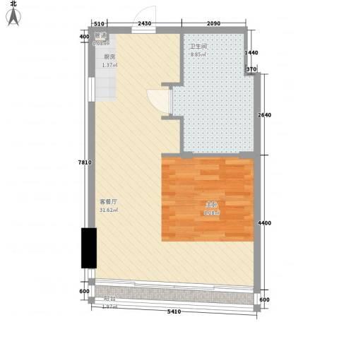 双大国际公馆1厅1卫0厨58.00㎡户型图