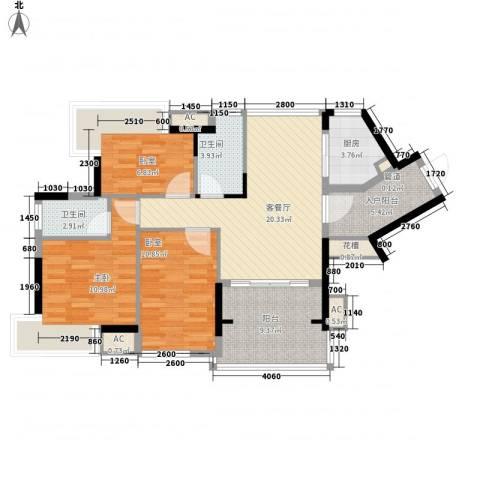 丽雅嘉园1室1厅2卫1厨77.16㎡户型图