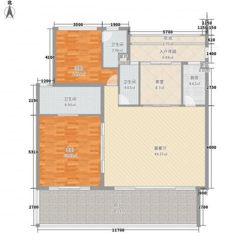 华润・石梅湾九里2室1厅3卫1厨168.00㎡户型图