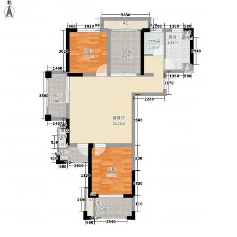 常发香城湾2室1厅1卫1厨105.00㎡户型图