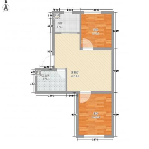 其仕・郡2室1厅1卫1厨74.00㎡户型图