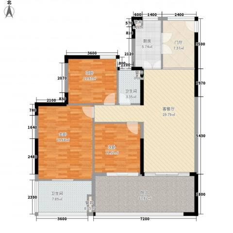 华润・石梅湾九里3室1厅2卫1厨127.00㎡户型图