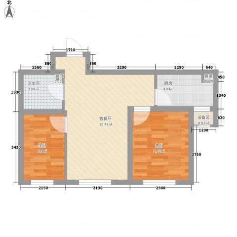 其仕・郡2室1厅1卫1厨66.00㎡户型图