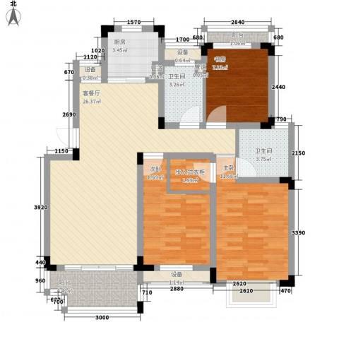 中天品园别墅3室1厅2卫1厨110.00㎡户型图