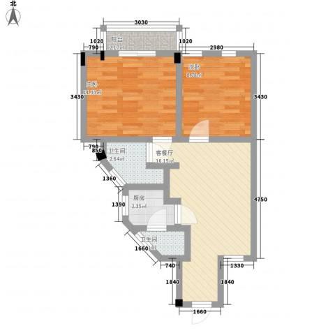 生活会馆2室1厅2卫1厨67.00㎡户型图