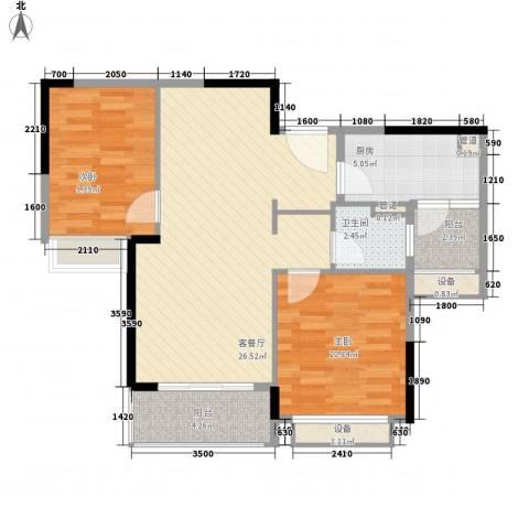 万科松山湖悦2室1厅1卫1厨80.00㎡户型图
