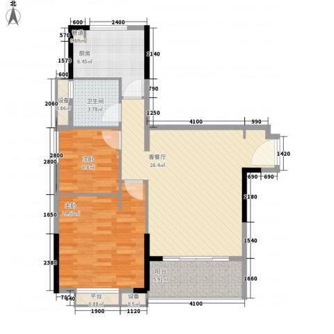 万科松山湖悦2室1厅1卫1厨88.00㎡户型图