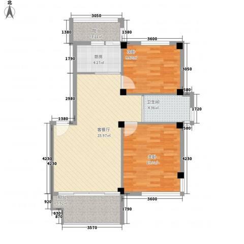 清水湾2室1厅1卫1厨95.00㎡户型图