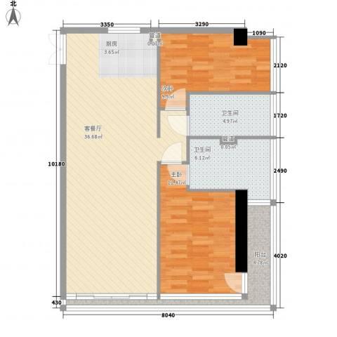 双大国际公馆2室1厅2卫0厨106.00㎡户型图