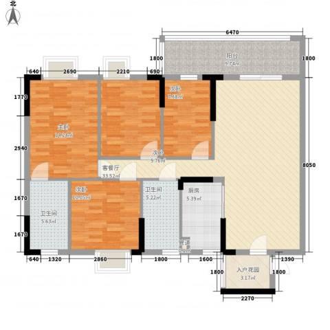 城央御景尚品4室1厅2卫1厨148.00㎡户型图