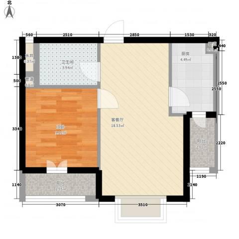 幸福E家三期1室1厅1卫1厨61.00㎡户型图