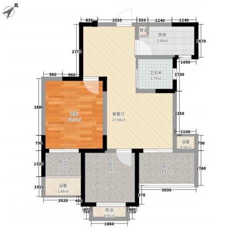 常发香城湾1室1厅1卫1厨74.00㎡户型图