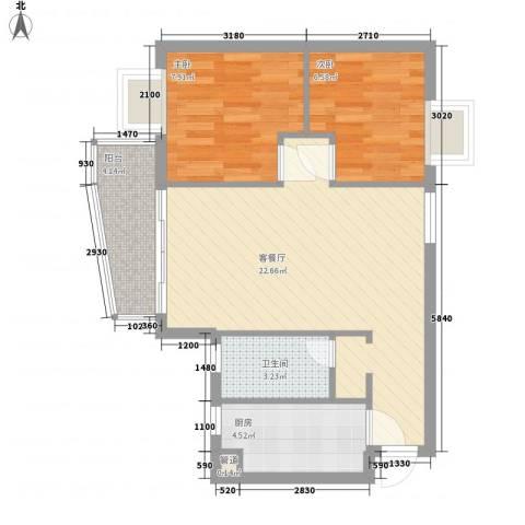 尚境雅筑2室1厅1卫1厨69.00㎡户型图