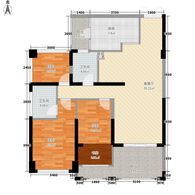 后海雅园89.00㎡A座C户89平户型3室2厅2卫1厨