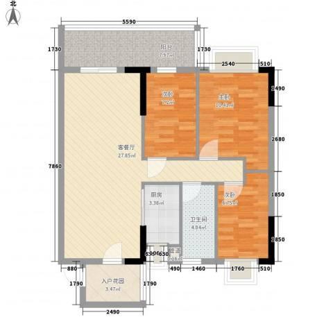 城央御景尚品3室1厅1卫1厨103.00㎡户型图