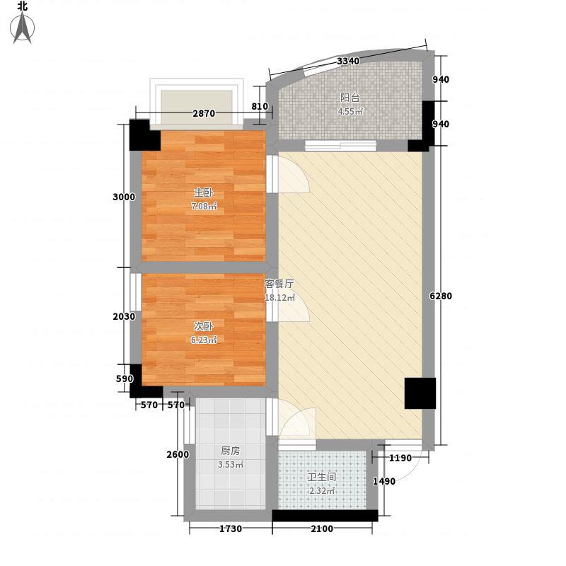 阳明荣德花园63.11㎡A、B号楼A户型2室2厅1卫1厨
