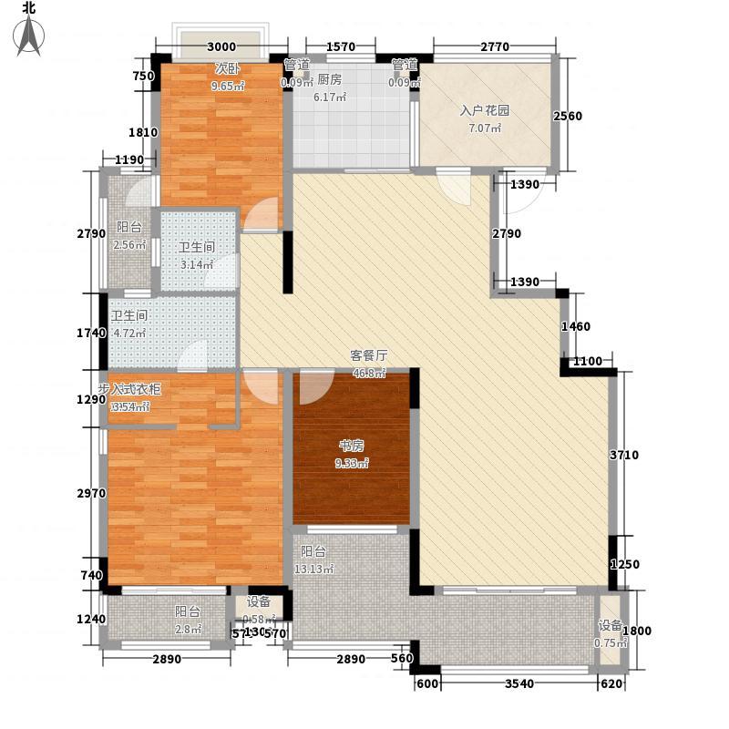 保利温泉新城142.00㎡A5户型偶数层户型3室2厅2卫1厨