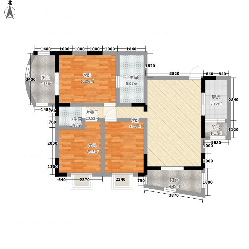 阳明荣德花园11.24㎡A、B号楼E户型3室2厅2卫1厨