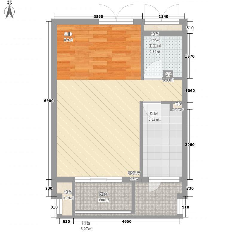 东岸春天里5号楼B户型(已售完)户型1室1厅1卫1厨