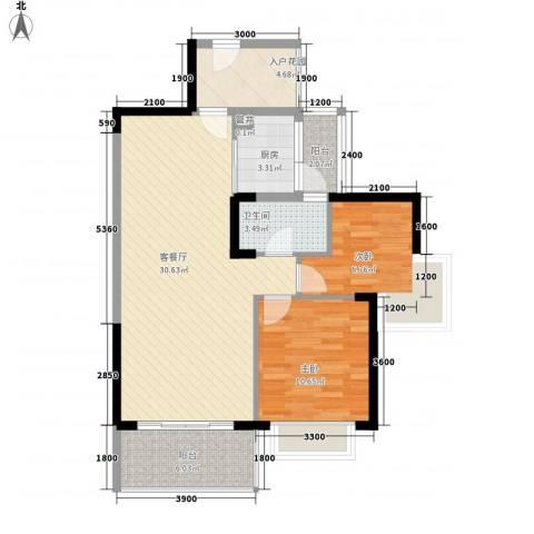 骏景高尔夫花园2室1厅1卫1厨97.00㎡户型图
