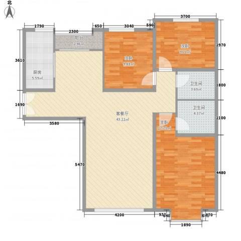 亚泰国际花园3室1厅2卫1厨174.00㎡户型图