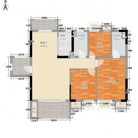 海逸・锦绣公馆3室1厅2卫1厨121.00㎡户型图