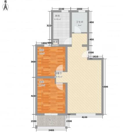 万西苑2室1厅1卫1厨93.00㎡户型图