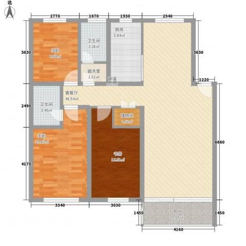 银丰大厦3室1厅2卫1厨114.00㎡户型图