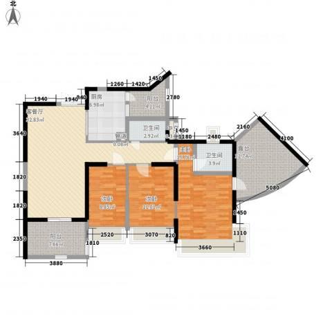 凯茵新城3室1厅2卫1厨123.00㎡户型图