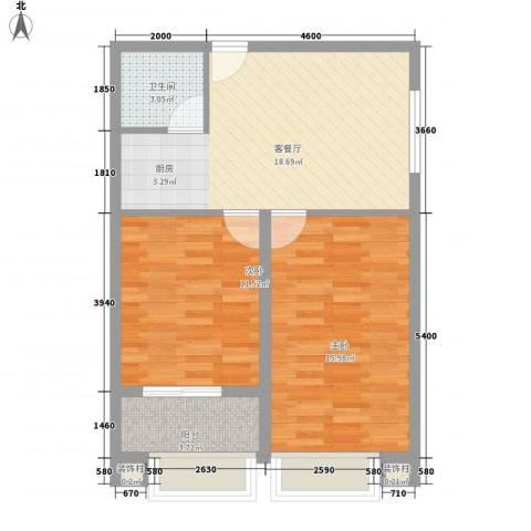 利海米兰春天2室1厅1卫0厨80.00㎡户型图