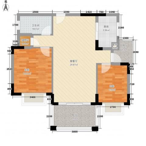 侨新花园2室1厅1卫1厨98.00㎡户型图