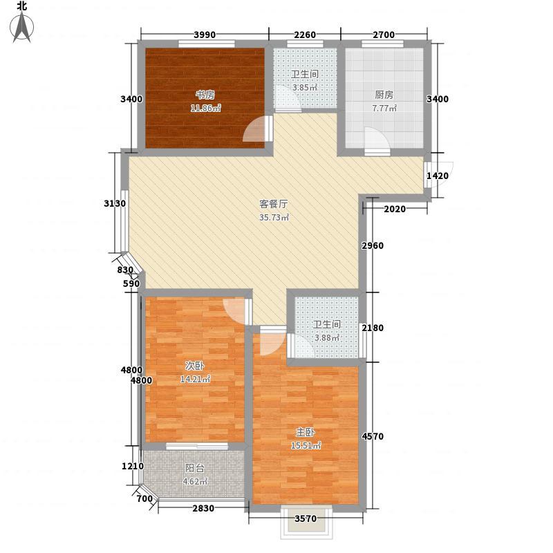 哈理两湾城13.36㎡户型3室2厅2卫1厨