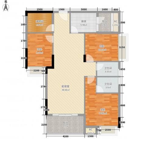 利丰城市花园3室0厅2卫1厨130.00㎡户型图