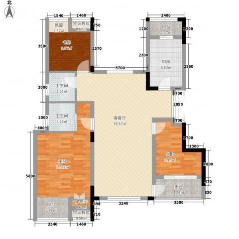 紫玉山庄3室1厅2卫1厨112.00㎡户型图